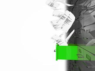 Grüne Akten Schublade 3D