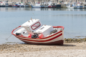 Wooden Spanish Fishing Boat, Conil Port, Cadiz Province, Spain