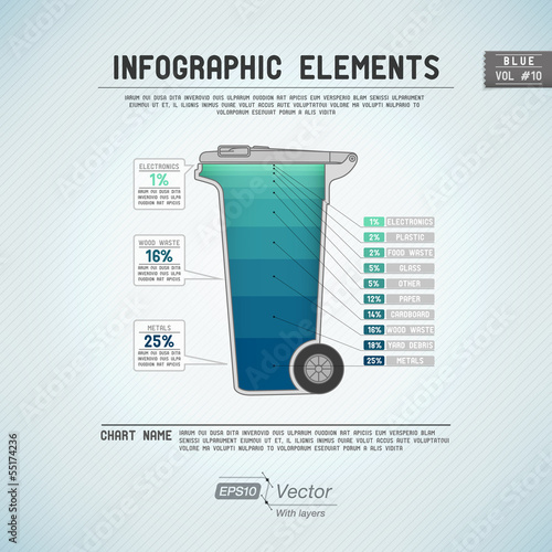 Detailed colorful infographic elements - Trashbin