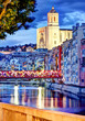 canvas print picture - Girona by night with cathedral and decorated bridge 2