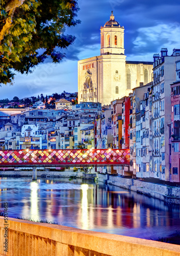 canvas print picture Girona by night with cathedral and decorated bridge 2