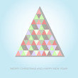 Abstract christmas card with paper geometrical fir tree