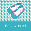 Baby boy shower card with small boots on seamless pattern