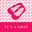 Baby girl shower card with small boots on seamless pattern