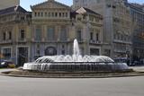 Fountain in Placa De Catalunya. Barcelona. Spain poster