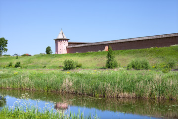 Fortification on the river bank, Suzdal, Russia