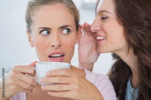 Smiling woman telling secret to her friend