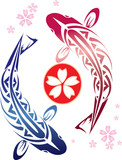 illustration Koi fish swimming around japannese wording