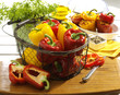 Red and yellow pepper in a basket