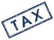 tax blue square grunge stamp