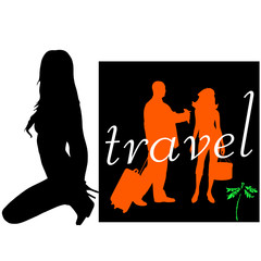 travel with girl art vector illustration