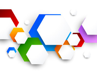 Colorful design with hexagons
