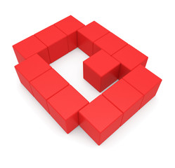 letter Q cubic red
