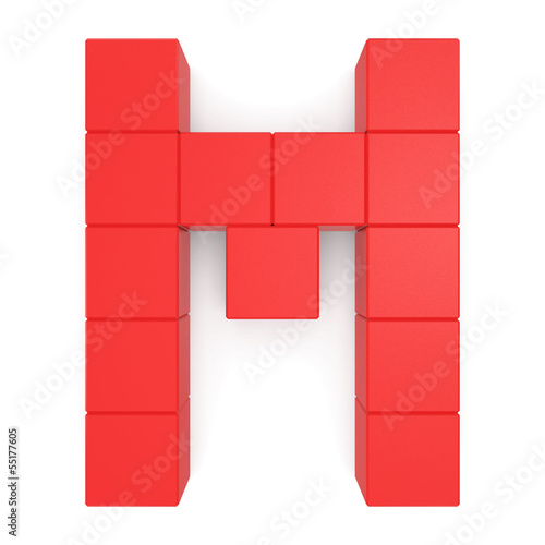 letter M cubic red