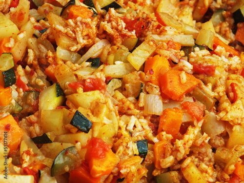 Chopped seasonal vegetables in a large pan