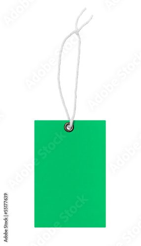 Blank green price tag
