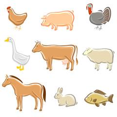 Farm animals set. Vector