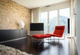 interior luxury apartment, comfortable red armchair