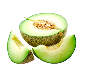 isolated melon with cut on white background