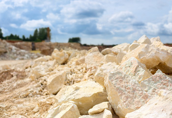 rocks in a limestone quarry close-up