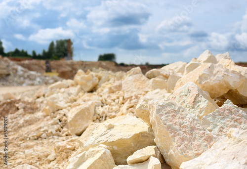 rocks in a limestone quarry close-up - 55179201