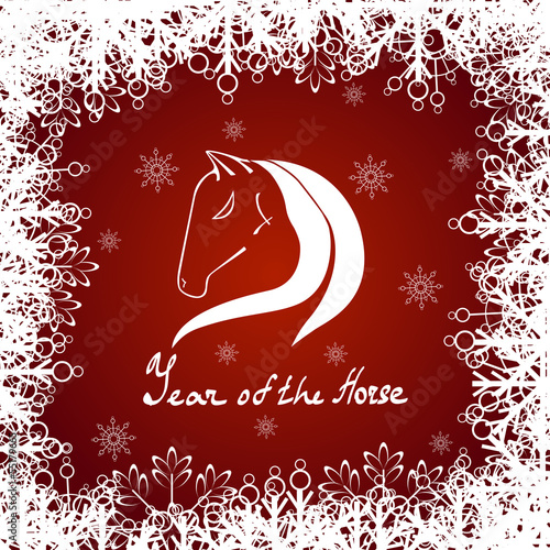 horse lace background red