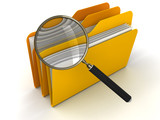 3D Folders with Magnifying Glass