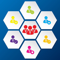 Social network icon set in hexagon shapes