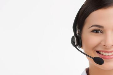 Cheerful customer service representative. Portrait of beautiful