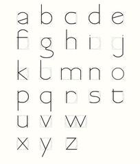 skeleton minuscule letters with geometric grid.