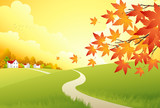 Fototapety Autumn Landscape. Vector Background