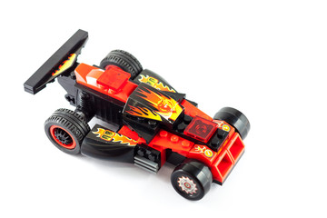 Racing car toy on white background