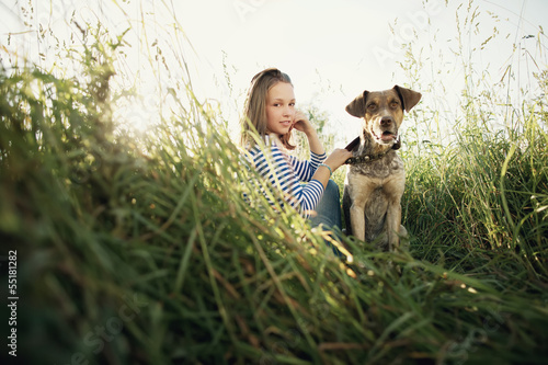 beautiful teen girl with dog