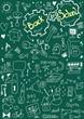 Back to school, doodle school  symbols on chalkboard
