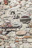 Photograph of medieval fortress stone-brick rampart - detail.