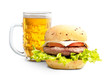 Hamburgers with glass of beer