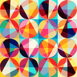 Vector geometric pattern of circles and triangles. Colored circl