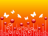 merry and bright background with butterflies