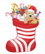 Vector Christmas sock with toys and gifts.
