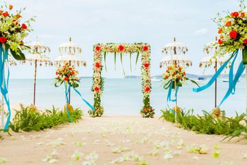 The wedding ceremony venue on the beach.