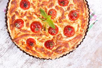 cheese tart with tomato