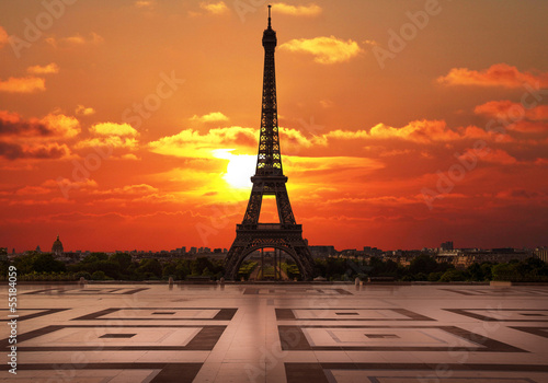 la tour Eiffel dal Trocadero all'alba - 55184059