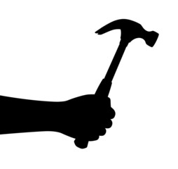 Hand hold hammer. Vector silhouette.