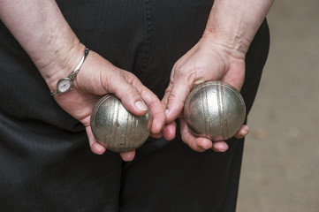 Woman playing boules