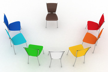 group of chairs costs a half-round