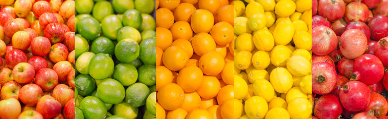 Collage. Lots of different fruits