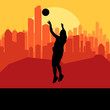 Basketball player in front of city sunset vector background