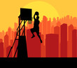 Basketball player in front of city sunset vector background conc