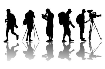 Cameramen and camcorder video operator vector background