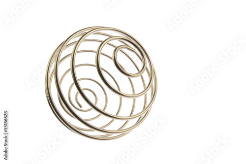 Wire curled ball tilted right